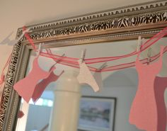 Mini Lingerie Garland Paper Bridal Shower Bachelorette Decoration Pink, Glitter, with Clothespins, Bra, Nightie, Panties. $18.00, via Etsy.