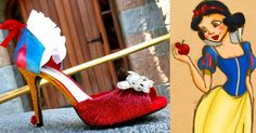 Out of the way, woodland creatures! These Snow White inspired stunners are available from Etsy seller FairytaleMidnight for $125. (Artist Credit) Read more at http://www.chipchick.com/2015/12/23-disney-princess-inspired-high-heel-shoes.html/2#AYvd5KvhjZS64vHW.99