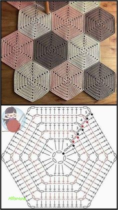 Crochet Motifs, Granny Square Crochet Pattern, Crochet Diagram, Crochet Squares, Crochet Chart, Crochet Blanket Patterns, Crochet Hexagon Blanket, Hexagon Quilt, Granny Squares