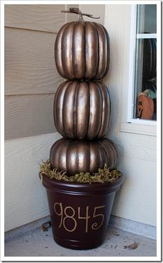 Stylish pumpkins, spray painted with Rustoleum Antique Brass Metallic Spray Paint then topped w/Valspar Antiquing Glaze