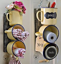 Para os mais criativos, uma caneca pode dar origem a diferentes projetinhos DIY, seja para organizar ou enfeitar de um jeito inusitado.