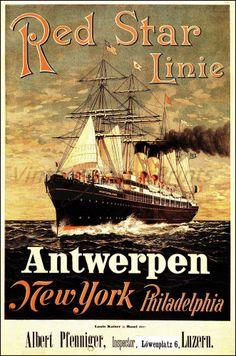 Red Star Line 1883 Ship Antwerpen NY Philadelphia Vintage Poster Print Art (b http://stores.ebay.com/Vintage-Poster-Prints-and-more