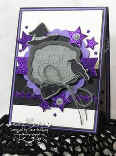 Projects by Tara Godfrey. Reverse Confetti stamp sets: Cast a Spell and So Many Stars. Confetti Cuts: Cast a Spell, Give Thanks Label and Pretty Panels Stars. Halloween card.