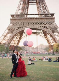 I love this scarlet Vera Wang #Wedding Dress...it's so perfect for this amazing Paris backdrop! From http://bridalmusings.com/2014/01/paris-engagement-shoot-vera-wang-wedding-dress/  Photo Credit: http://anetamak.com/  Dress by http://verawang.com/