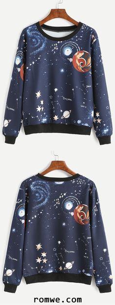 Navy Contrast Trim Galaxy Print Sweatshirt