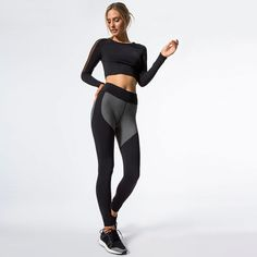 33e65e8d0e459c Mesh Splicing Women's Set. Yoga Pants ...