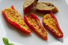 Spitzpaprika -  Schiffchen 1 French Toast, Low Carb, Stuffed Peppers, Snacks, Vegetables, Breakfast, Ethnic Recipes, Food, Food Portions