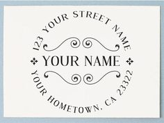 Personalized Rubber Stamp - Custom Address Stamp - Simple Retro Style - AA34 on Etsy, $8.50