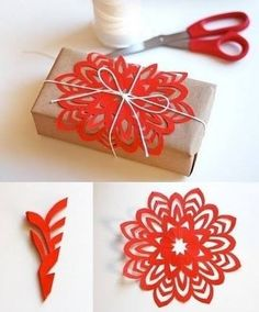 Such an easy and pretty idea for wrapping! (need plain brown paper and coloured)