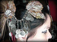 Ishtar - Moon Goddess Tribal Fusion Hair Half Circlet. $75.00, via Etsy.