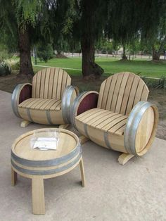 Reuse wine barrels as furniture - these would be great for a man cave with some throw pillows