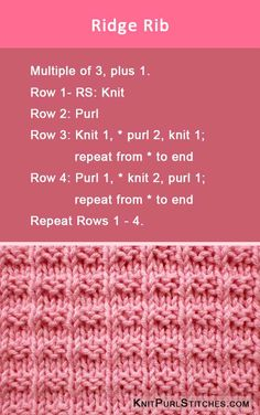 Knit the Ridge Rib stich pattern. Using Knit and Purl. Knit the Ridge Rib stich pattern. Using Knit and Purl. The post Knit the Ridge Rib stich pattern. Using Knit and Purl. appeared first on Knitting ideas. Knitting Stiches, Knitting Charts, Free Knitting, Knit Stitches, Knitting Stitch Patterns, Knitting Machine, Cross Stitches, Vintage Knitting, Rib Stitch Knitting