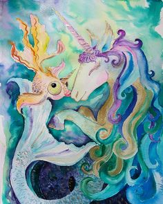 Kelpie Unicorn and Absent-minded Fairy Fish (also a unicorn)❤ wishing you greatest fairy mood I think it will be a great choice for Nursery decor of a young Princess  Can you imagine anything more cute and magic for Kids room? Its hard to  This painting will be great as Nursery wall art for girls room, your dreamy little Princess will be happy to have such decor in her room.  Cute and magic painting will help to create festive mood for your little girl!  Painted on thick 300 gsm water...