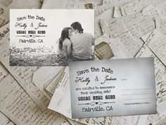 50 Wedding Save The Date Cards  GrayVille Vintage by FifthVintage, $59.00 : Perfect for Birdsong Events TN : www.birdsongevents.com