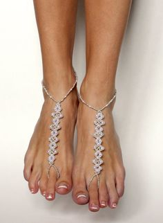 Barefoot Sandals Elegant White Pearls with Silver by BareSandals