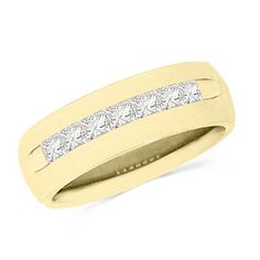 This mens 14 ct. t.w. princesscut diamond seven stone wedding band is set in 14K gold. The inside of the 5.0mm wide band is rounded for comfort. This ring is available in size 8 only.                                     View product details.                              #Fashion  #Jewelry