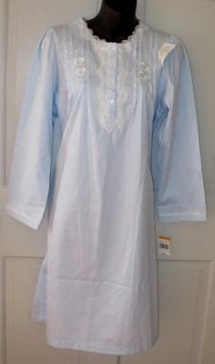 NWT Miss Elaine Blue Embroidered Floral Soft Touch Night Gown Pajama's Small Now $19.87