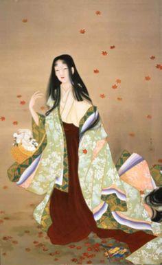 "- asian paintings - Uemura Shoen- ""Blumenkorb"", Stil: Nihonga Genre: Bijinga ""Uemura Shoen-Zeichnungen, Skizzen u - Geisha Kunst, Geisha Art, Adachi Museum Of Art, Art Museum, Art Beat, Art Japonais, Korean Art, Japanese Painting, Japanese Prints"