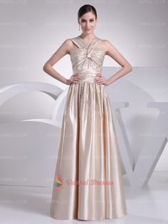 169.00$  Watch here - http://virnx.justgood.pw/vig/item.php?t=kuejpab52283 - Champagne Sleeveless Beaded Bodice Pleated Long Prom Dresses 169.00$