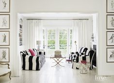 Contemporary White Family Room with Striped Seating