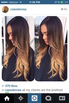 Someday I want this ombré!! High contrast dark brown to blonde ombré