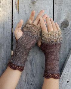 Fingerless Gloves Knitted, Crochet Gloves, Knit Mittens, Crochet Lace, Crochet Granny, Crochet Arm Warmers, Wrist Warmers, Loom Knitting, Hand Knitting