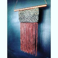 Woven loom Tapestry Wall Hanging Copper Tissage