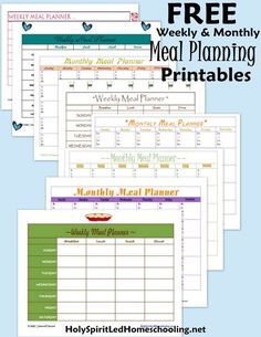 Free Meal Planning Printables: Download several free weekly & monthly meal planning printables HolySpiritLedHomeschooling.net