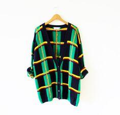 Oversized Vintage Cardigan / 80s Plaid Chunky Sweater / Rad Vintage Cardigan / Slouchy Sweater