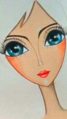 Romi Lerda Big Eye Art Cute Doodle Art, Painting Of Girl, Inspirational Artwork, Arte Pop, Naive Art, Art Journal Inspiration, Whimsical Art, Pictures To Draw, Art Plastique