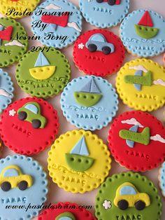 Fondant Cookies, Car Cookies, Galletas Cookies, Fondant Toppers, Cake Icing, Cupcake Cookies, Cupcake Toppers, Baby Shower Pasta, Baby Shower Cakes
