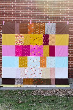 Mendocino quilt top.  I like the four similar fabrics in different rows.