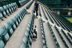 Security checks are carried out on Court 18 with a sniffer dog. - AELTC/Neil Tingle