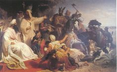 Harun al-Rashid receiving a delegation of Charlemagne in Baghdad, by Julius Köckert (1864).
