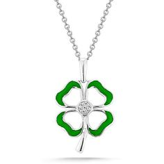 """Sterling Silver Green Enamel with Diamonds Four-Leaf Clover Pendant Necklace (0.03 cttw, I-J Color, I2-I3 Clarity), 18"""" Amazon Curated Collection, http://www.amazon.com/dp/B004N3B4W8/ref=cm_sw_r_pi_dp_UhrAqb09X26HW"""