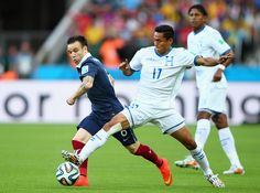 Andy Najar of Honduras wearing white kinesiology tape in his clash against France