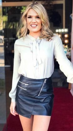 Sexy Blouse, Bow Blouse, Skirt Outfits, Sexy Outfits, Weather Girl Lucy, Blond, Charlotte Hawkins, Susanna Reid, Black Leather Mini Skirt