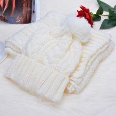 New Fashion Girl's Winter Cap Warm Woolen Blend Knitted Hat&Scarf