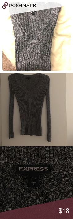 Marled Knit Express Sweater Very flattering Express sweater! Size Large. Only worn once! Perfect condition! Express Sweaters V-Necks