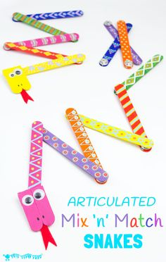 SNAKE CRAFT : This Mix 'N Match Articulated Snake Craft is such fun and twists, turns and slithers like a real one! With bright and colourful interchangeable body parts kids can make a unique snake toy every time they play! #GorillaTough #GorillaOfCourse
