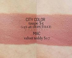 """I have another MAC Cosmetics Lipstick dupe to share with you! The next shade up on the dupe list is """"Velvet Teddy"""", a deep-tone beige. Mac Eyeshadow Dupes, Mac Cosmetics Lipstick, Drugstore Makeup Dupes, Lipsticks, Makeup To Buy, Makeup Set, Kylie Jenner Lipstick Dupes, Mac Velvet Teddy Dupe, Elf Dupes"""