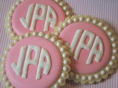Sweet Goosie Girl: Pink/White Circle Monogram Cookies