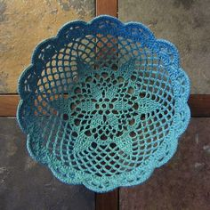 Lace Bowl by Linda Permann from her book Crochet Adorned- free pattern via Ravelry