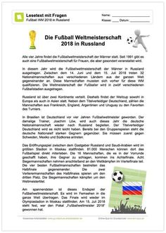 NEU: Ein kostenloses Arbeitsblatt zur Fußball WM 2018 in Russland, bei dem die Schüler einen Text zur WM lesen und anschließend 12 Fragen beantworten sollen.
