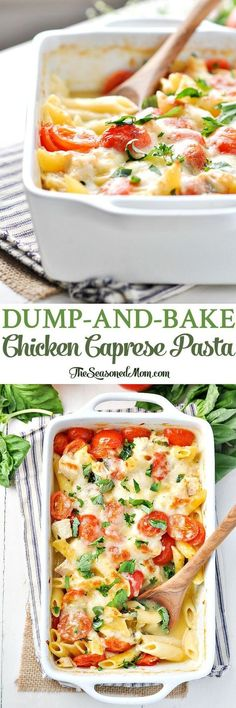 Dump-And-Bake Chicken Caprese Pasta Easy Dinner Recipes Healthy Dinner Recipes Dinner Ideas Healthy Recipes Easy Healthy Dinners Chicken Recipes Pasta Recipes Italian Recipes Caprese Pasta, Caprese Chicken, Chicken Pasta Recipes, Baked Chicken, Boneless Chicken, Balsamic Chicken, Roasted Chicken, Chicken Sides, Chicken Stovetop