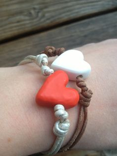 VALENTINES DAY Adjustable Knot Bracelet With by sarahbellumshop, $8.00