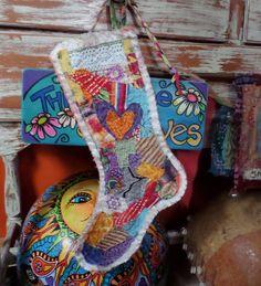 Shabby, hippie christmas, christmas stocking, B51, rag quilt, keepsake stocking, heirloom stocking, boho christmas, patchwork stocking,