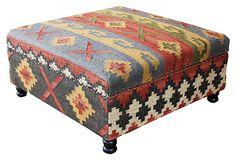 Helena Kilim Upholstered Storage Ottoman on OneKingsLane.com