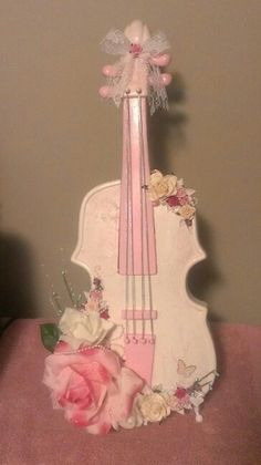 18 inch high shabby chic violin.