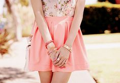 coral, cute, fashion, girly, neon pink, pink, pretty, skirt, softlittlefashion, style